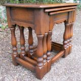 Small Heavy Quality Oak Nest of Three Coffee Tables